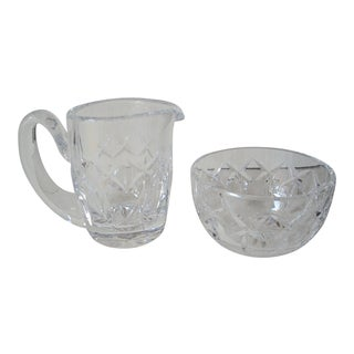 1990s Waterford Crystal Sugar & Creamer - a Pair For Sale