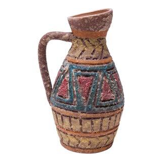 Heavily Textured Vintage Italian Studio Ceramic Pitcher For Sale