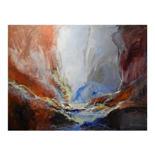 """""""Lush Valley"""" Brightly Lit Landscape Abstract Expressionist Oil Painting For Sale"""