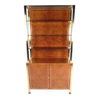 Vintage Modern Burlwood Display Cabinet After Willy Rizzo