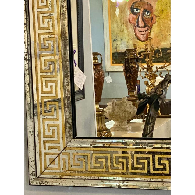 Hollywood Regency Mirrors Gilt Gold Greek Key Design Wall, Console Pier a Pair For Sale - Image 10 of 13