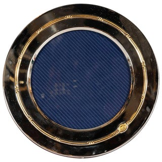Gucci Mid-Century Modern Silver Plate and 14-Karat Gold Circular Picture Frame For Sale