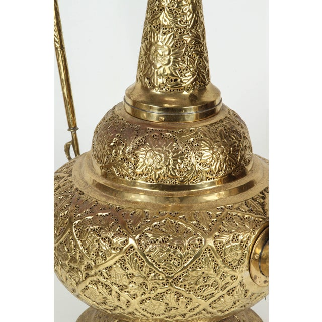 Metal Oversized Tall Moorish Brass Middle Eastern Ewer Lamp For Sale - Image 7 of 10