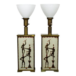 Art Deco Maurice Heaton Four-Panel Tribal Table Lamps - a Pair