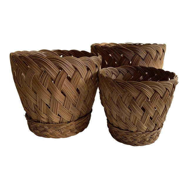 Earthy Classic Basket Vessels, Set of Three For Sale