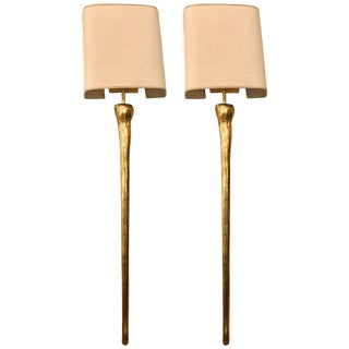 Pair of Hollywood Regency Gilt Metal Torch Form Wall Sconces With Custom Shades For Sale