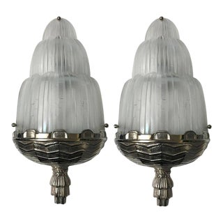 """French Art Deco """"Waterfall"""" Sconces Signed by Sabino - a Pair For Sale"""