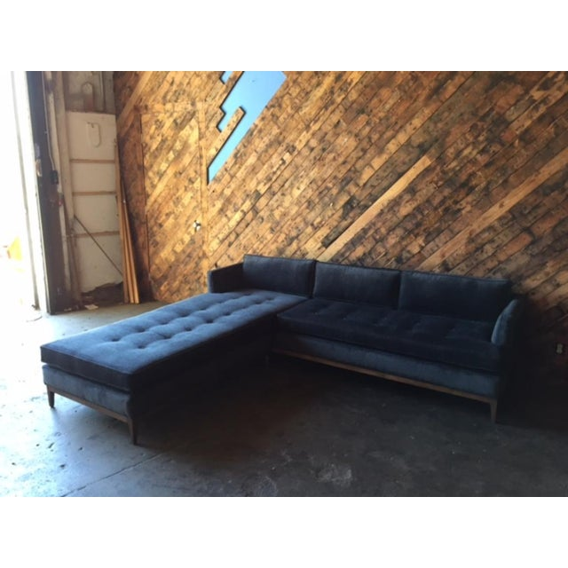 Textile Mid-Century Style Custom Reversible Sofa Chaise Lounge For Sale - Image 7 of 8