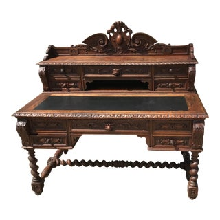 Antique French Carved Hunt Desk For Sale