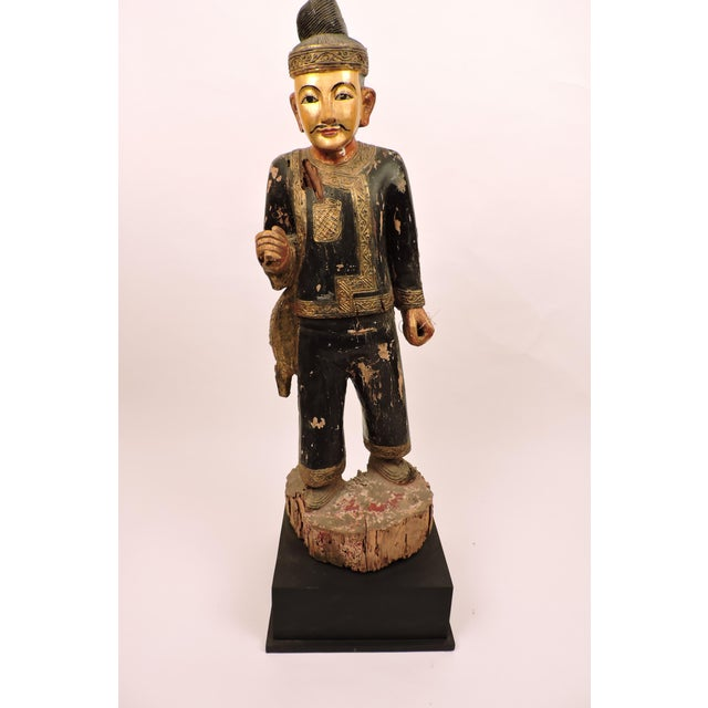 Burmese Male Nat Figure In Black and Gold For Sale In San Francisco - Image 6 of 6