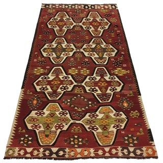 Vintage Turkish Kilim in Brick Red and Cream | 3'11 X 7'2 For Sale