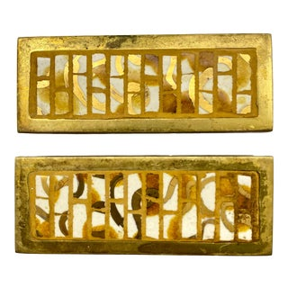1970s Post Mid Century Cast Brass W/Ceramic Yellow, White, & Gold Tiled Furniture Handles - a Pair For Sale