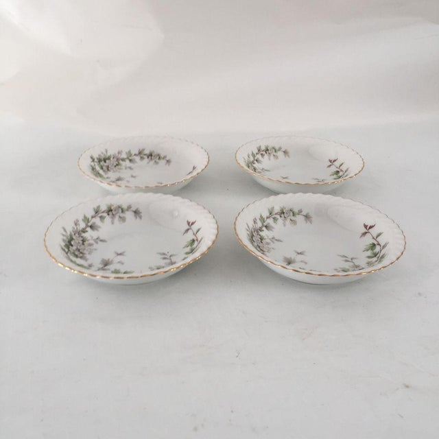 """Set of 4 porcelain 5""""D Berry or Dessert Bowls with dogwood floral decoration and punctuated gilded edge forming rivulet..."""