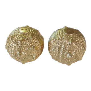 Gold Ornate Anthropologie Sea Urchin Salt and Pepper Shakers - a Pair For Sale
