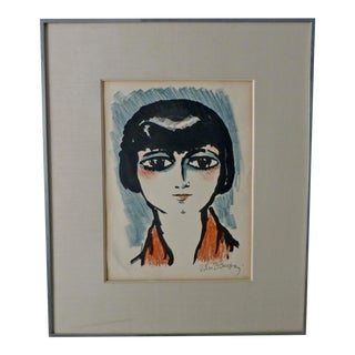Kees Van Dongen Painting of Young Girl With Black Hair and Red Scarf Parisienne For Sale