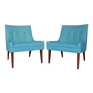 Mid-Century Modern Lounge Teal Upholstered Club Chairs - a Pair
