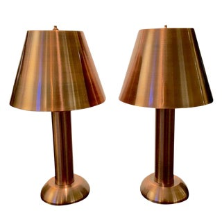 Pair of 1990s Copper Table Lamps For Sale