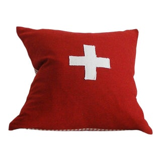 Contemporary Red and White Wool Pillow Cover - 15x15 For Sale