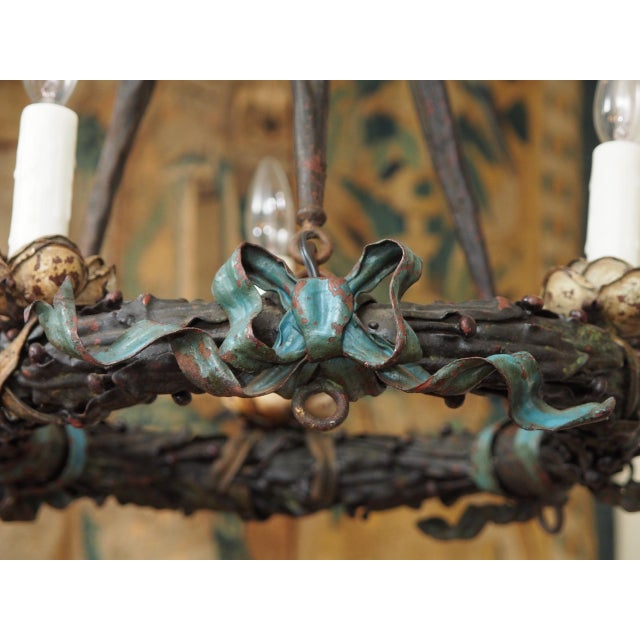 Polychrome Wreath Form Chandelier For Sale In New Orleans - Image 6 of 8