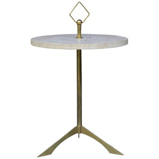 Mid-Century Italian Brass Marble Table Stand Harlequin Diamond Loop Heifetz For Sale