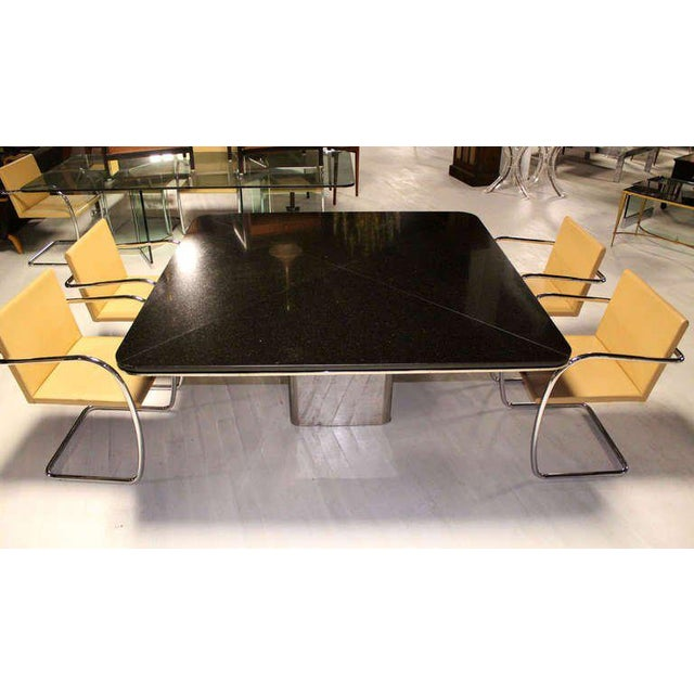 1970s Mid-Century Modern Brueton Square Granite Top and Stainless Base Dining Table For Sale - Image 6 of 10