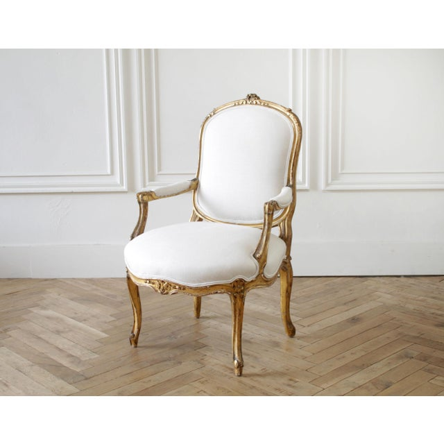 19th Century Carved Giltwood French Louis XV Style Open Arm Chairs SKU Number: 7232-007681 Description: 19th Century...