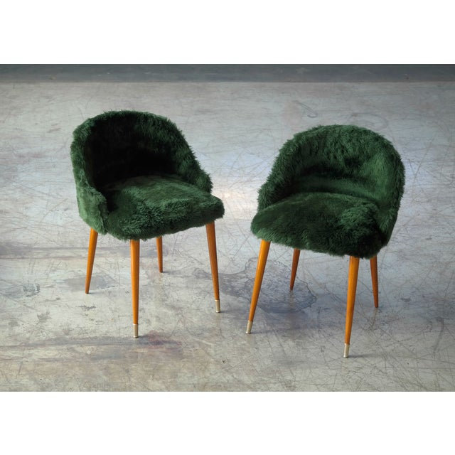 Frode Holm Inspired Mid-Century Danish Vanity Chairs in Elm and Green Faux Fur - a Pair For Sale - Image 10 of 10