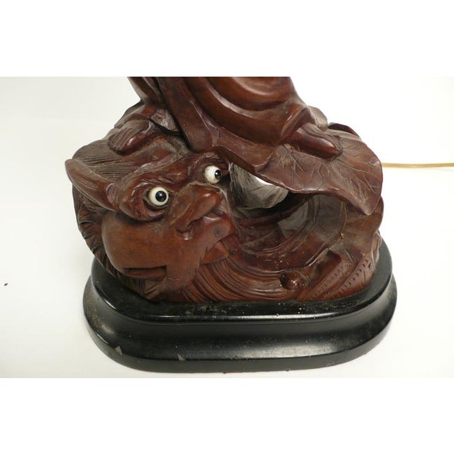 Hand-carved Teak Asian Lamp For Sale - Image 9 of 9