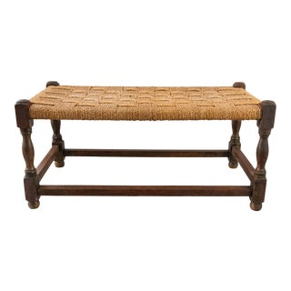 Antique English Rectangular Oak and Cording Footstool For Sale