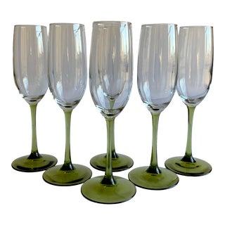 Vintage Champagne Flutes, Set of 6 For Sale