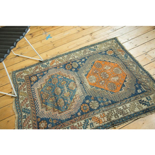 """Antique Caucasian Square Rug - 3'6"""" x 4'4"""" - Image 4 of 10"""
