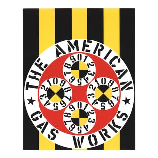1997 Robert Indiana 'The American Gas Works' Pop Art Yellow,Black & White,Red Usa Serigraph For Sale