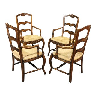 Set of 4 Country French Style Ladderback Armchairs For Sale