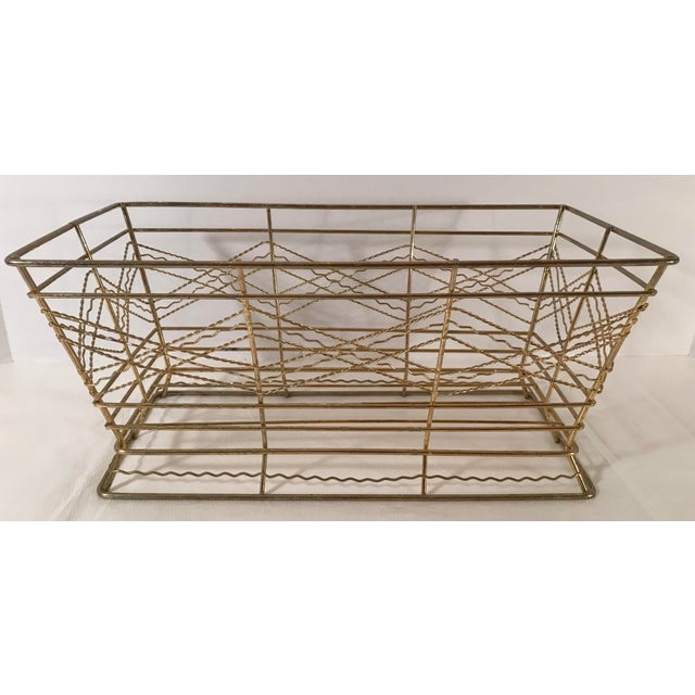 Gold Mid Century Expanded Gold Metal Basket For Sale - Image 8 of 8