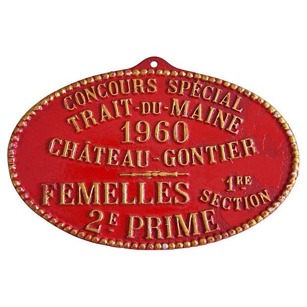 1960 Vintage French Prize Trophy Award Plaque - Image 1 of 2