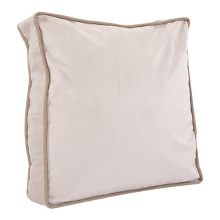 Kenneth Ludwig Chicago Square Gusseted Bella Stone Velvet Pillow With Contrast Welt For Sale