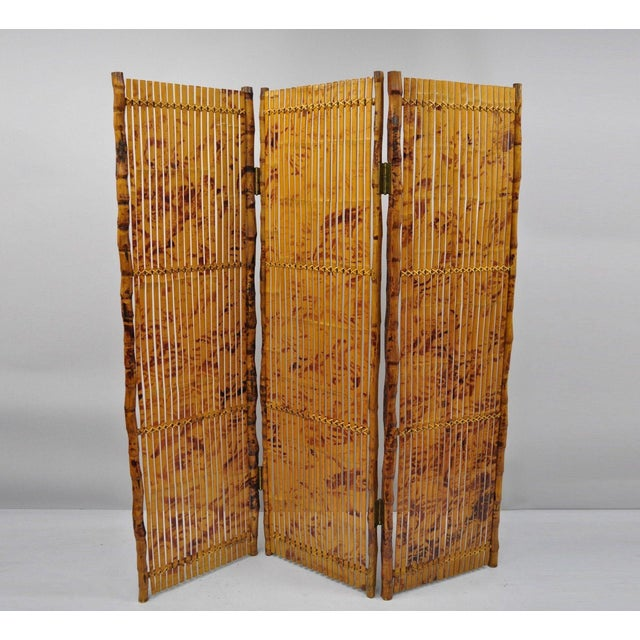 Late 20th Century Bamboo Wood Panel Room Divider For Sale - Image 10 of 10