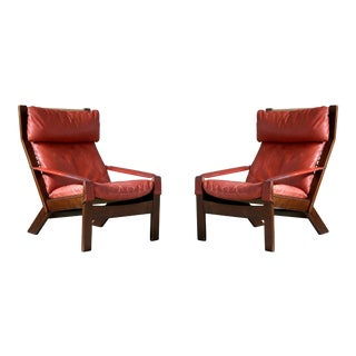 Pair of Sigurd Ressell Midcentury Reclining Leather Lounge Chairs for Westnofa For Sale