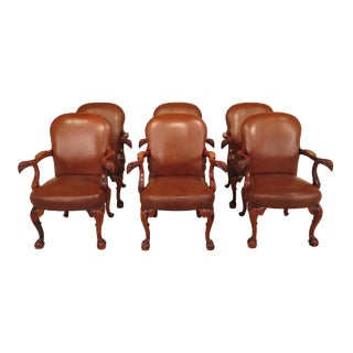 Leather Carved Mahogany Chairs with Eagle Arms - Set of 6