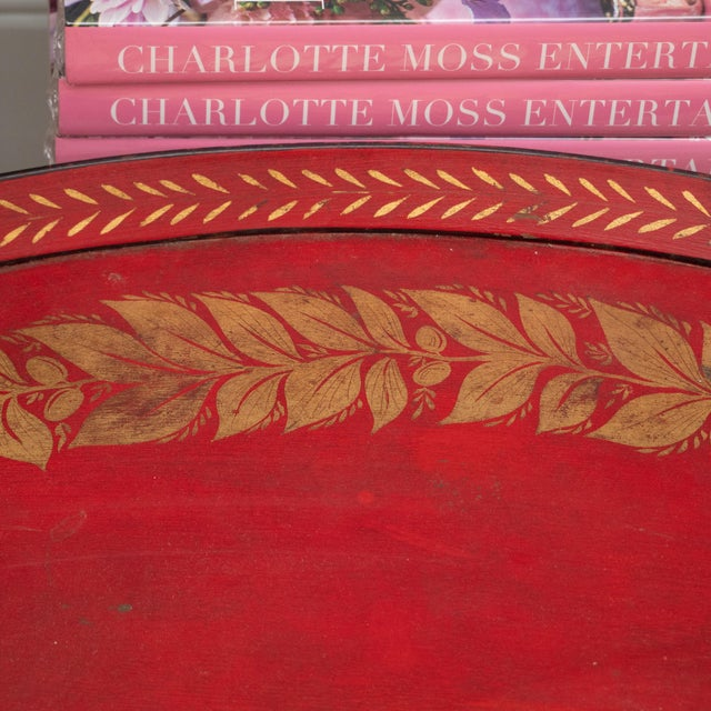 Red Tole Table with Decorative Oval Top and X-Frame Base For Sale - Image 4 of 9