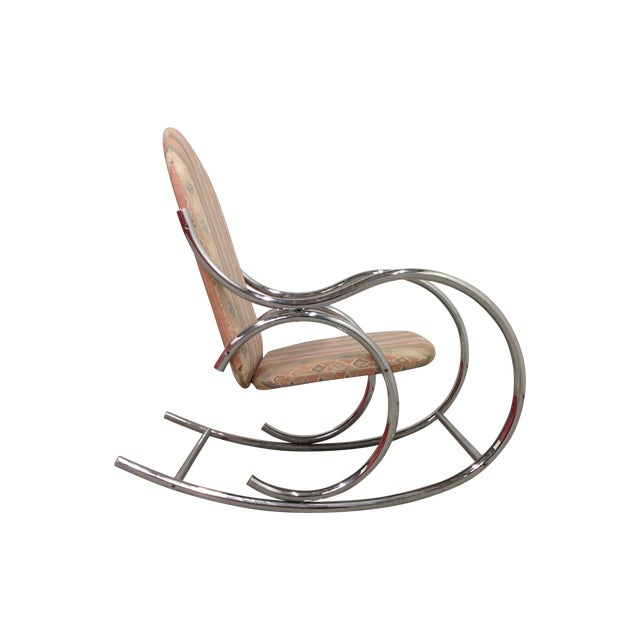 Mid Century Modern Chrome Rocking Chair For Sale