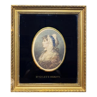 18th Century Hand Colored St Giles's Beauty Framed Mezzotint Engraving For Sale