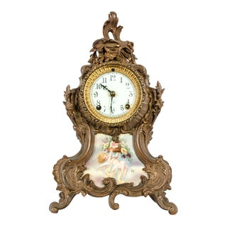 Early 19th Century Bronze Mounted / Porcelain Face Clock For Sale