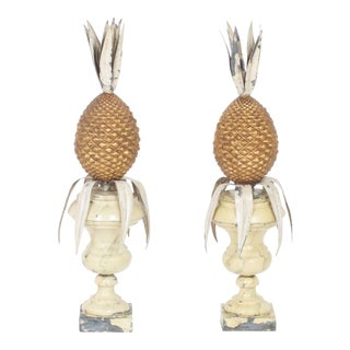 Vintage Italian Tole Pineapple Garnitures - A Pair For Sale