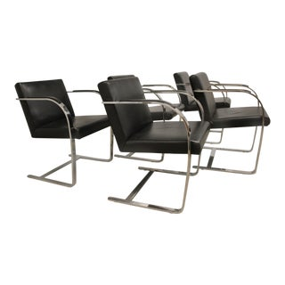 Ludwig Mies Van Der Rohe Flat Bar Bruno Chairs for Knoll - Set of 5 For Sale