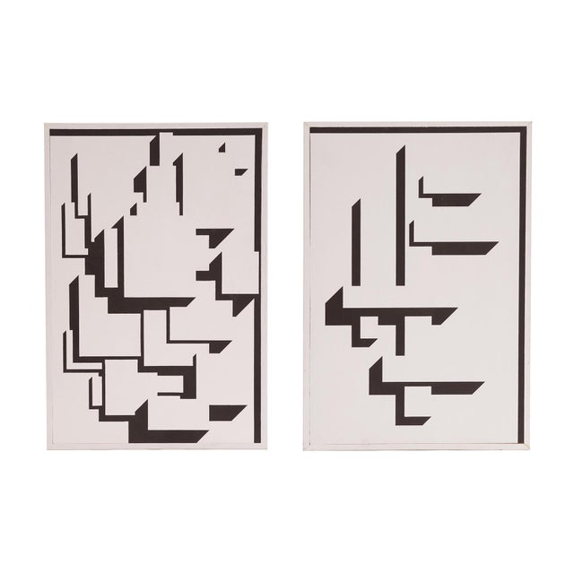 Patrick Mather Hard-Edge Black and White Acrylic Paintings - a Pair For Sale - Image 10 of 10
