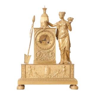 Victor Cacheaux Napoleonic Empire Gilt-Bronze Mantel Clock For Sale