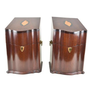 George III Style Inlaid Mahogany Knife Box - a Pair For Sale