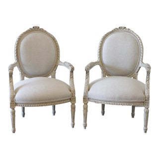 20th Century Louis XVI Carved and Painted Linen Armchairs - a Pair For Sale
