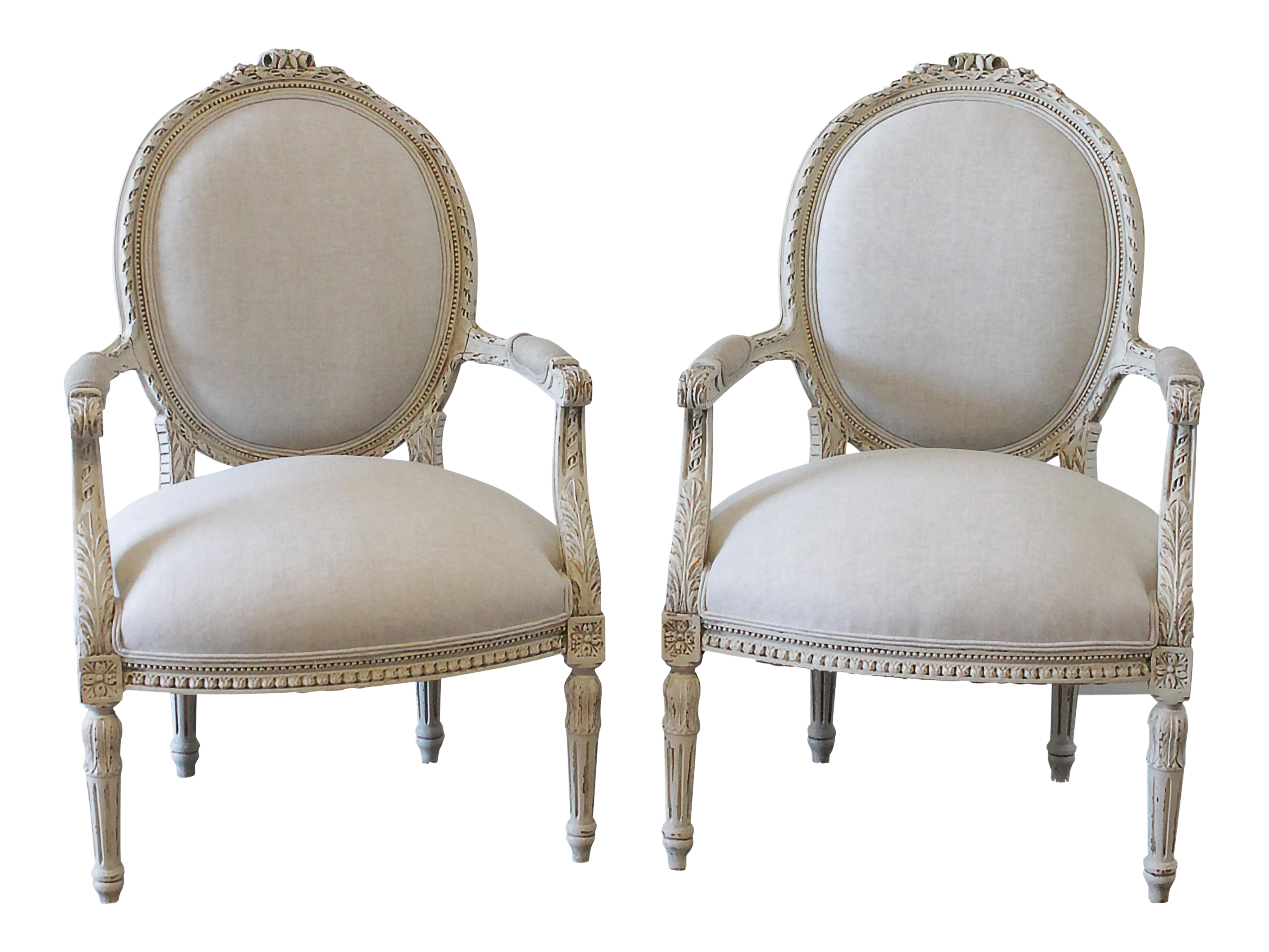 20th Century Louis XVI Carved and Painted Linen Armchairs - a Pair  sc 1 st  Chairish & Vintage u0026 Used Louis XVI Side Chairs | Chairish